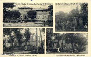 W lewym górnym rogu karczma Dawida Thissa dawniej będąca własnością Gustawa Goergensa (dzisiejsza posesja nr 31). Prawy górny róg to widok kościoła od strony północnej. Na dole widzimy drewnianą plebanię stojącą kiedyś na północ od świątyni. Na zdjęciu czwartym prywatny dom naczelnika gminy (sołtysa). Prawdopodobnie to istniejący do dzisiaj, mocno przebudowany dom stojący na posesji nr 40.