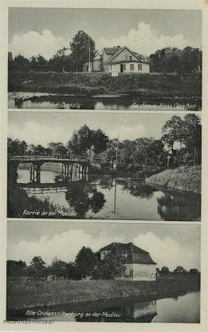 Pocztówka trójobrazkowa pokazująca fragmenty wsi Lędowo (Landau) leżącej w obrębie gminy Pruszcz Gdański, nad Motławą. Górne zdjęcie pokazuje zajazd Hansa Claassena.