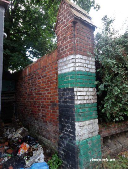 Śmieci przy narożniku muru okalającego Gedanię