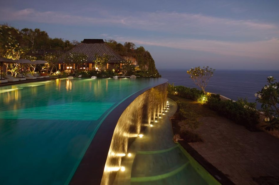 Bvlgari Bali hotel main pool with view of the ocean