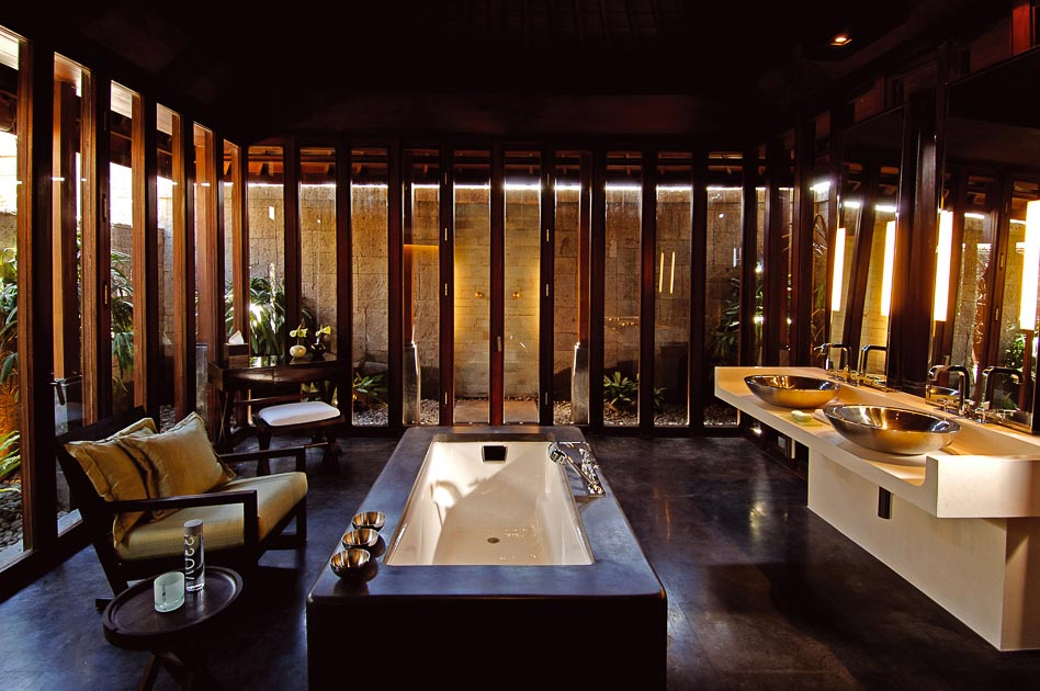 GDC interiors review of Blgari Bali Hotel villa bathroom interior