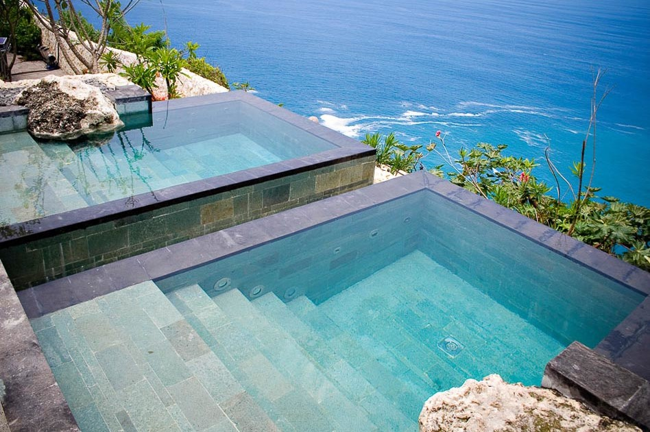 Bvlgari Bali resort spa pools with view of the ocean luxury hotel