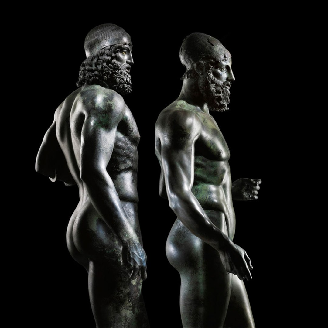 Riace bronzes ancient Greek art bronze statues about 450 BC discovered off the cost of Riace Marina Italy