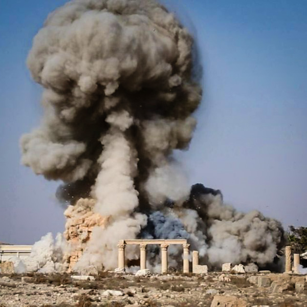 the destruction of the ancient temple of Baal Shamin (built in 17 AD) in the Unesco-listed city of Palmyra, Syria.