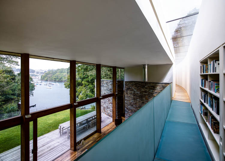 waterside modern Pencalenick House, Fowey, Cornwall, UK