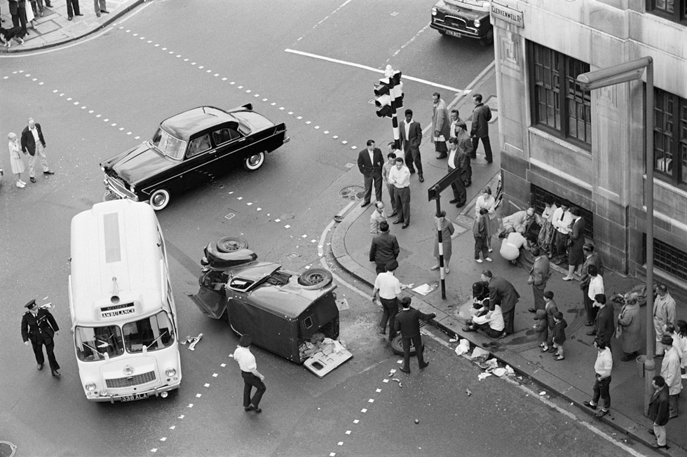 Accident Daytime. Junction of Clerkenwell Road and Farringdon Road, 1962 Photograph by Colin O'Brien How London Has Changed