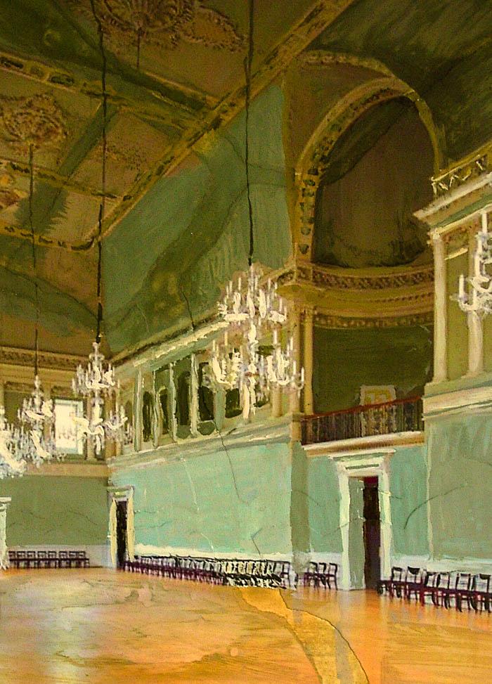 Interior of Bath, mixed media by Rupert Dixon