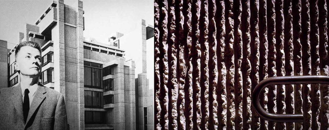 Ruins and Fragments One of the earliest examples of American Brutalism, Paul Rudolph's Art and Architecture Building at Yale, showing the special finish of ridged concrete surfaces obtained by attacking them with hammers.