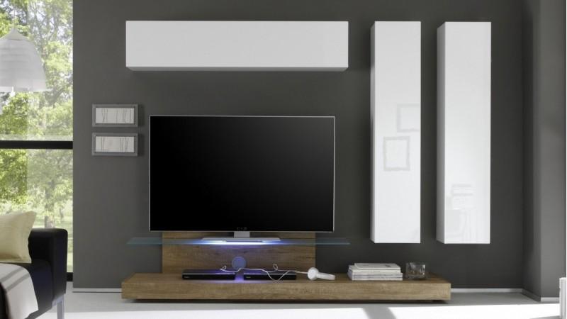 ensemble meuble tv design led bois et