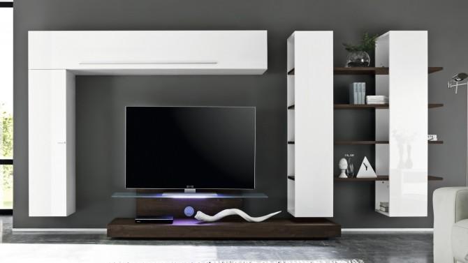 meuble tv suspendu bicolore blanc et bois wenge farrell gdegdesign