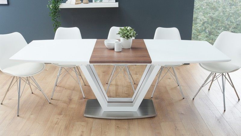 grande table a manger extensible blanc