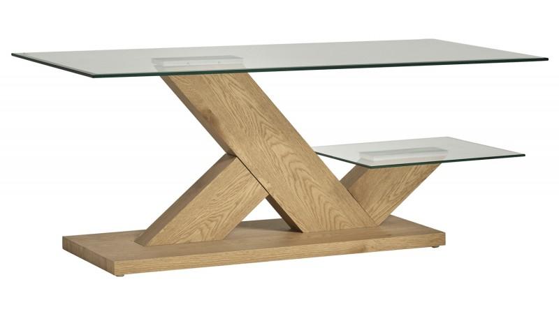 table de salon rectangulaire verre et