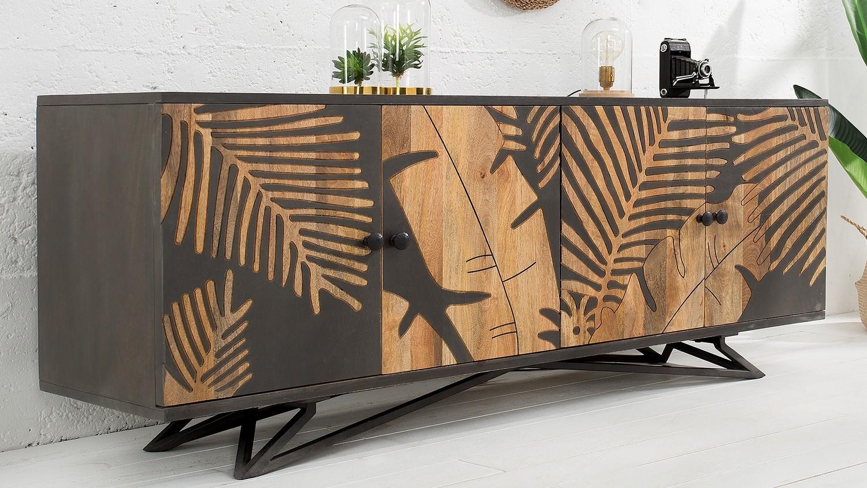 buffet exotique design 4 portes en bois