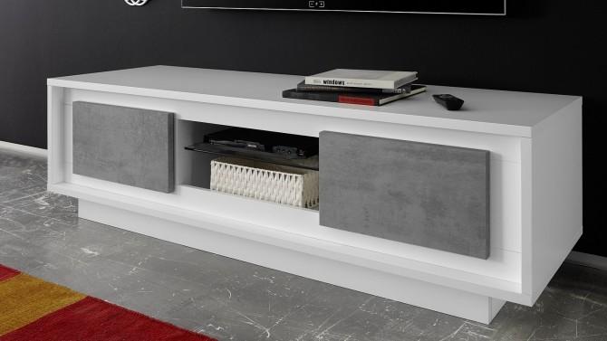 meuble tv 2 portes beton laque blanc mat dov