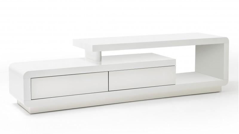 meuble tv laque blanc brillant tiroirs