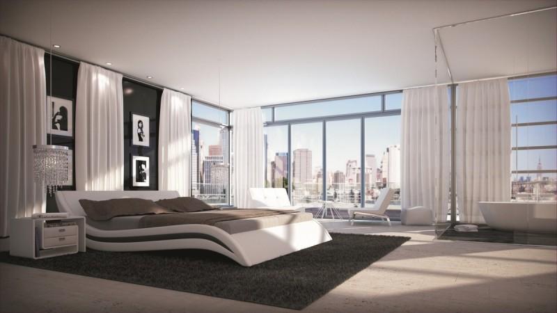 Lit Moderne En Simili Cuir Blanc Et Noir 160x200 Cm Laren