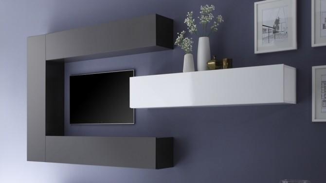meuble tv suspendu avec rangements manoj