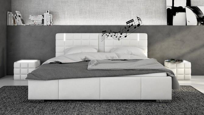 Lit Haut Parleurs Avec LED Simili Blanc 200x200 Cm Wouter