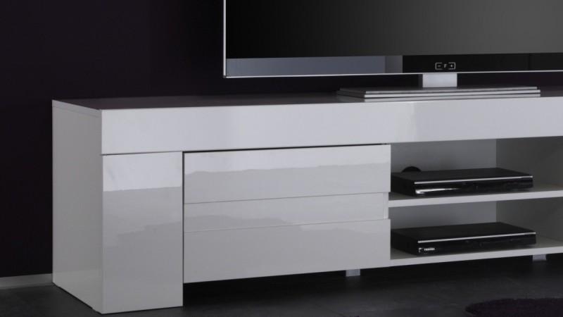 Banc TV Design 2 Portes Avec Tagre Laqu Blanc Konrad