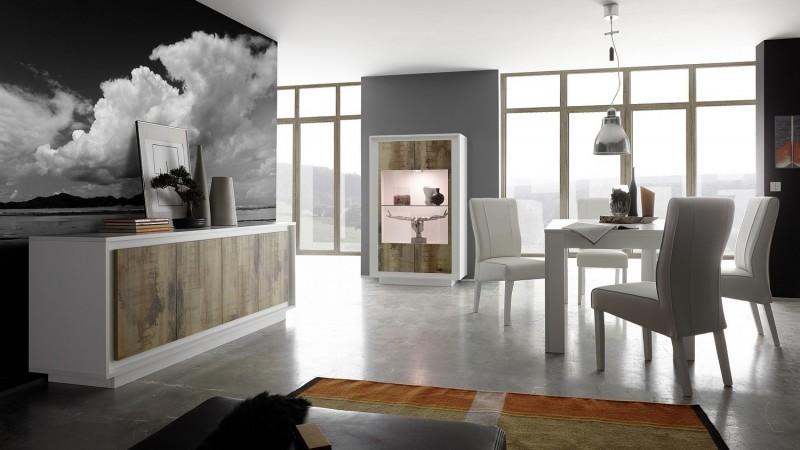 salle a manger led blanc mat et bois clair design brann gdegdesign