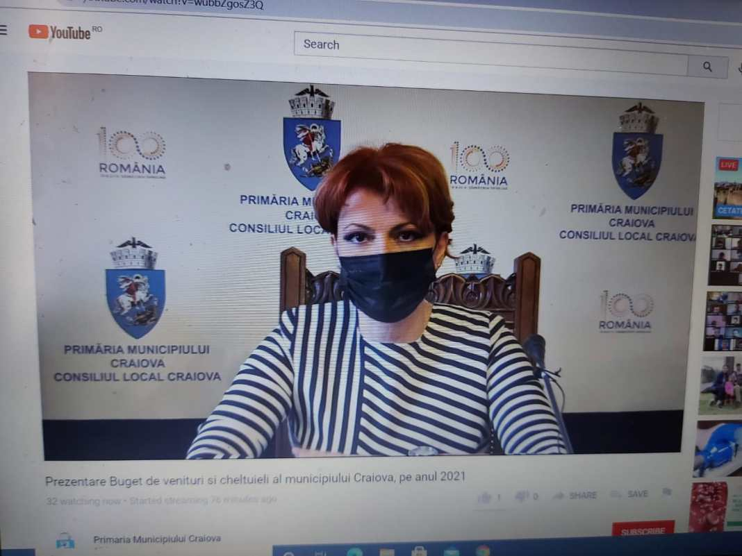 Bugetul Craiovei pentru anul 2021 a fost prezentat online pentru câteva zeci de urmăritori