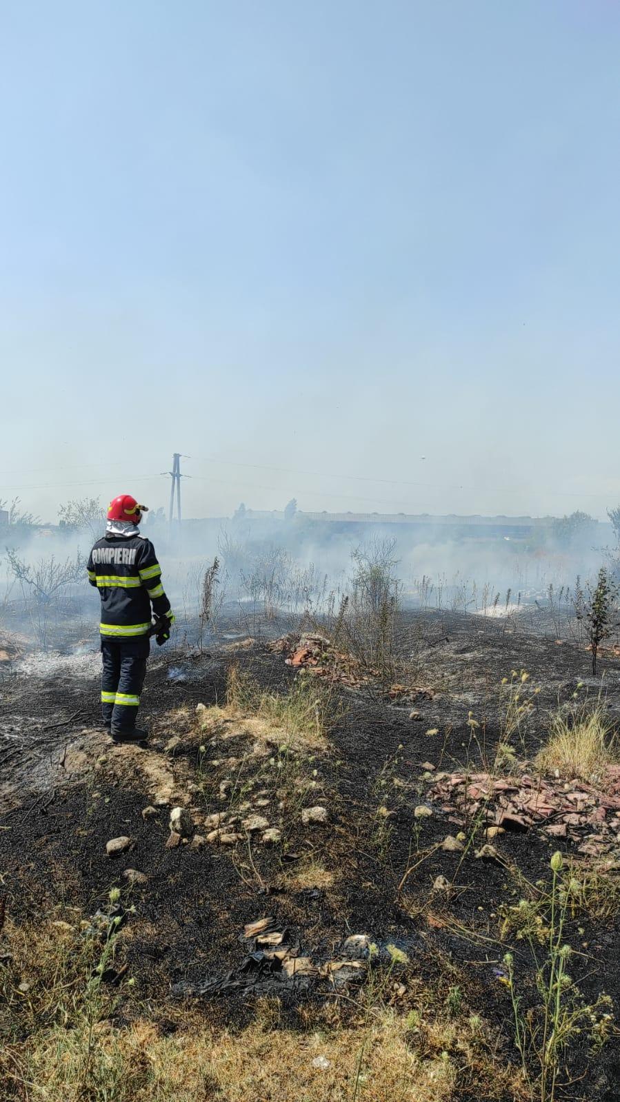 Un incendiu de vegetație uscată s-a propagat la două anexe gospodărești