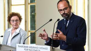 Le Premier ministre Édouard Philippe et la ministre du Travail Muriel Pénicaud