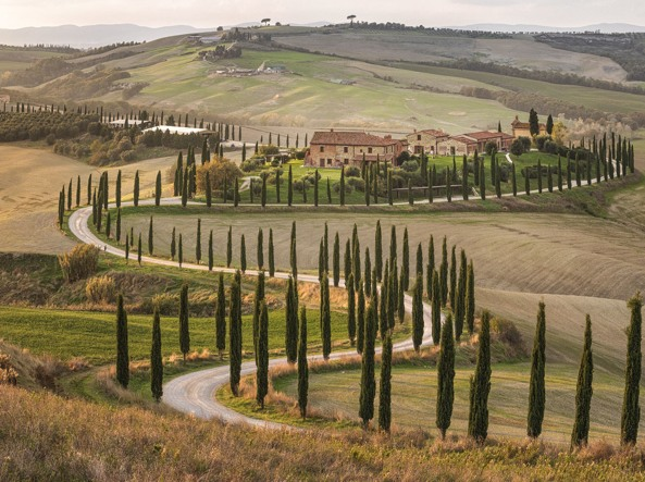 A road between the crags of the Val d'Orcia in Tuscany