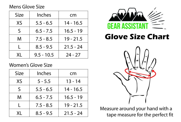 glove size chart table for skiing snowboarding