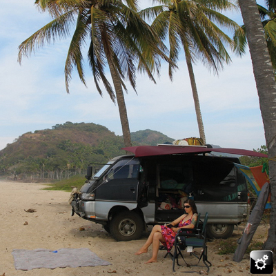 Danika enjoys a private beach in Mexico with Ari and their Delica.