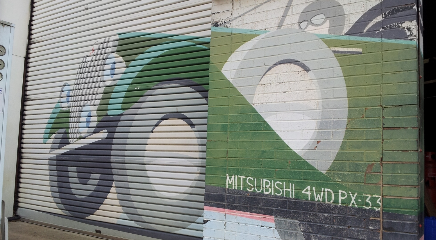Mitsubishi PX33, lovingly remembered on the former Ralliart UK facility in Rugby, England.
