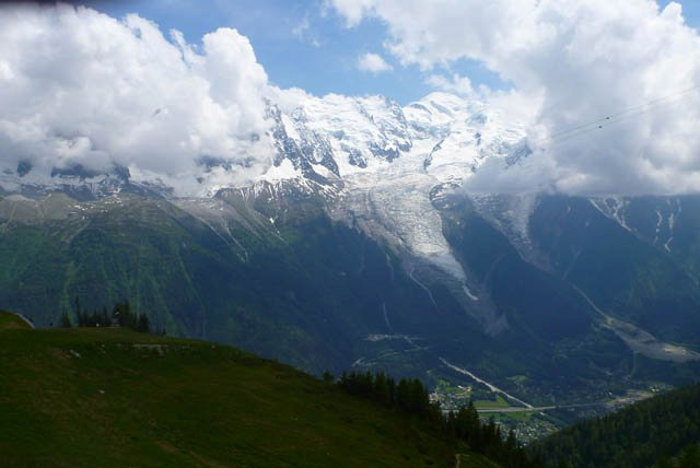 Mont Blanc massif with Cham in the valley
