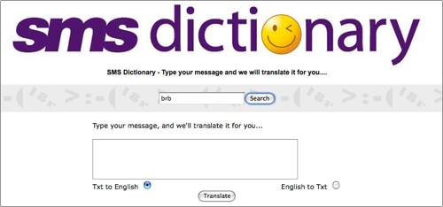 SMS Dictionary from Geardiary.com