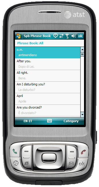 Figure 18:  The Phrase Book allows you to translate hundreds of phrases into dozens of languages