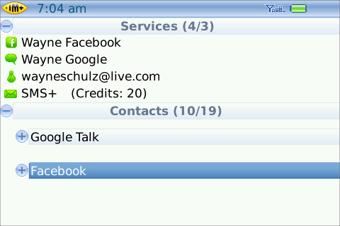 IM+ offers Facebook chat for BlackBerry users