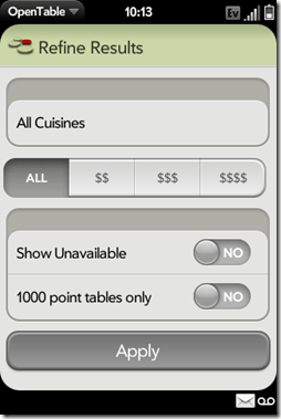 Palm Pre App Catalog. 30 apps in 30 Days. Day 13: Open Table