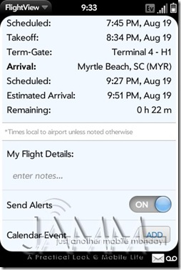 Palm Pre App Catalog. 30 apps in 30 Days. Day 20: FlightView
