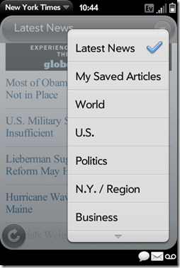 Palm Pre App Catalog. 30 Apps in 30 Days. Day 23: The New York Times