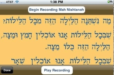 iMahNishtanah: An iPhone App to Prep for Passover