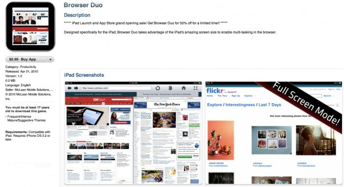 Browser Duo- iPad App Review