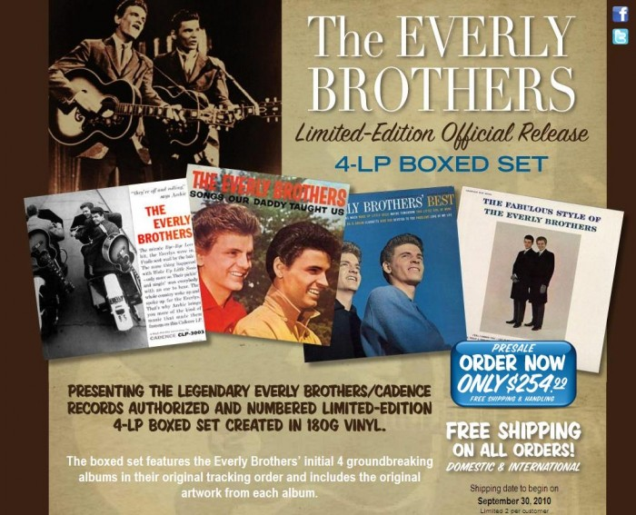 180 Gram Records Unveils Everly Brothers Collector's Edition LP Box Set!