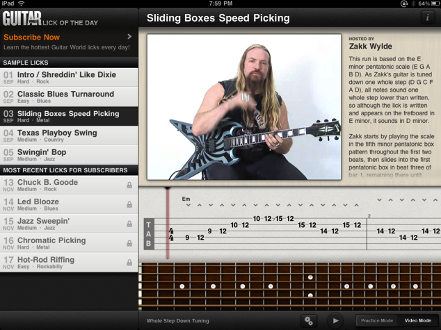 Guitar World Lick of the Day for iPhone/Touch/iPad Review