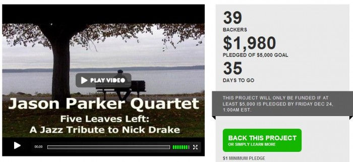 Music Diary Notes: Help Jason Parker Realize His Nick Drake Tribute Project