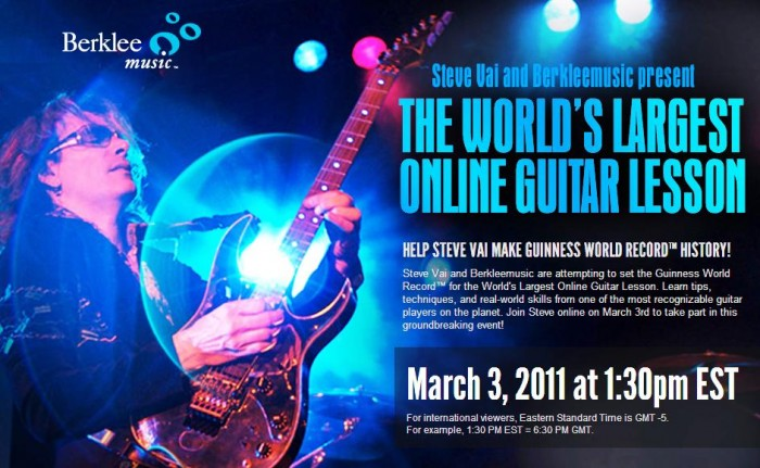 Music Diary Quickie: Attend the Worlds Largest Guitar Lesson with Steve Vai on March 3rd!