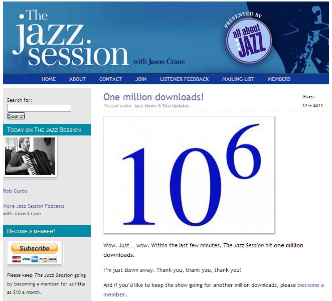 Music Diary Notes: The Jazz Session Crosses One Million Downloads!