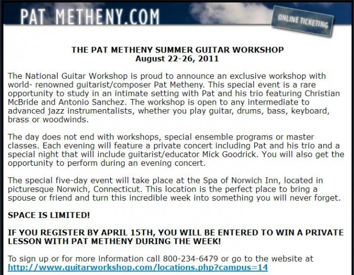 Music Diary Notes: Amazing Pat Metheny Guitar Workshop Opportunity
