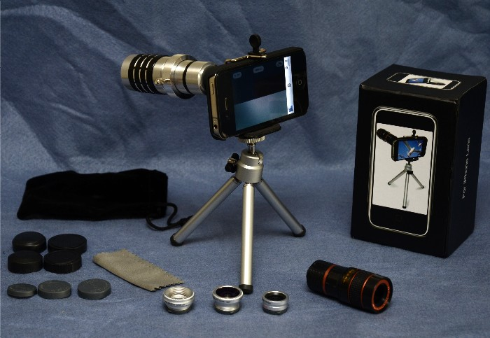 USBFever Wide Angle + (Macro) + Fish Eye + 2X + 8X + 12X Telephoto Lens Combo for iPhone 4G