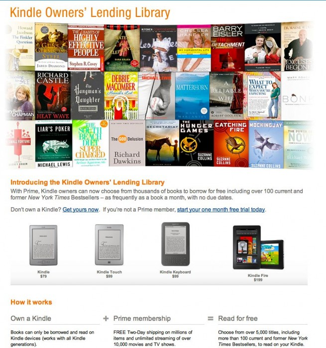 Amazon Introduces the Kindle Lending Library