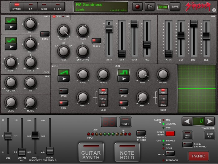 Shredder Guitar Synthesizer for iPad Review