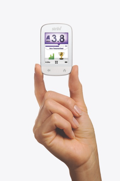 Device front in hand held in fingertips home screen